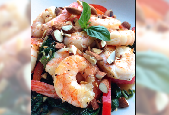 Lime Basil Shrimp with Spinach and Bell Pepper
