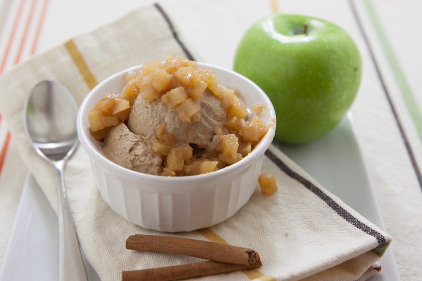 Cinnamon Ice Cream with Warm Apple Compote