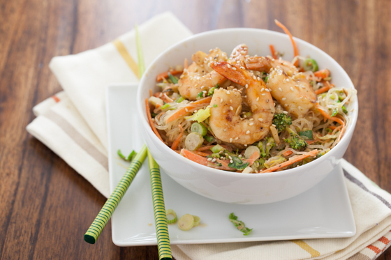 Asian Shrimp & Noodles with Tahini Sauce