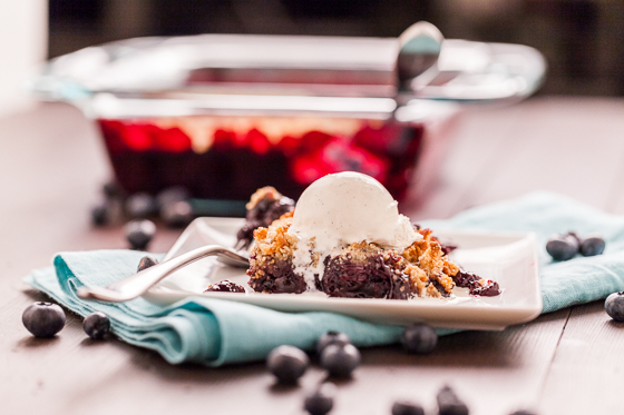 Lemon Blueberry Crumble with Marzipan Streusel