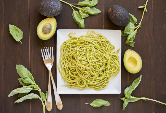 Creamy Avocado Basil Sauced Spaghetti | LaughterandLemonade.com
