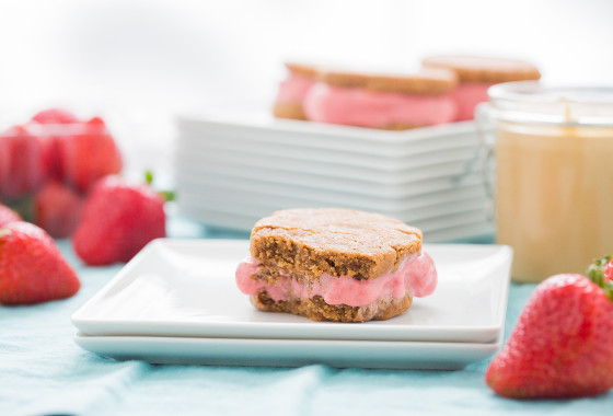 Peanut Butter & Jelly Ice Cream Sandwiches | LaughterandLemonade.com