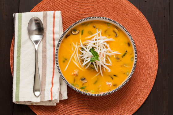 Thai Red Curry Soup with Salmon | LaughterandLemonade.com