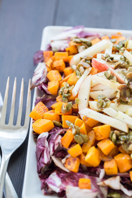 Roasted Radicchio and Butternut Squash Salad | LaughterandLemonade.com