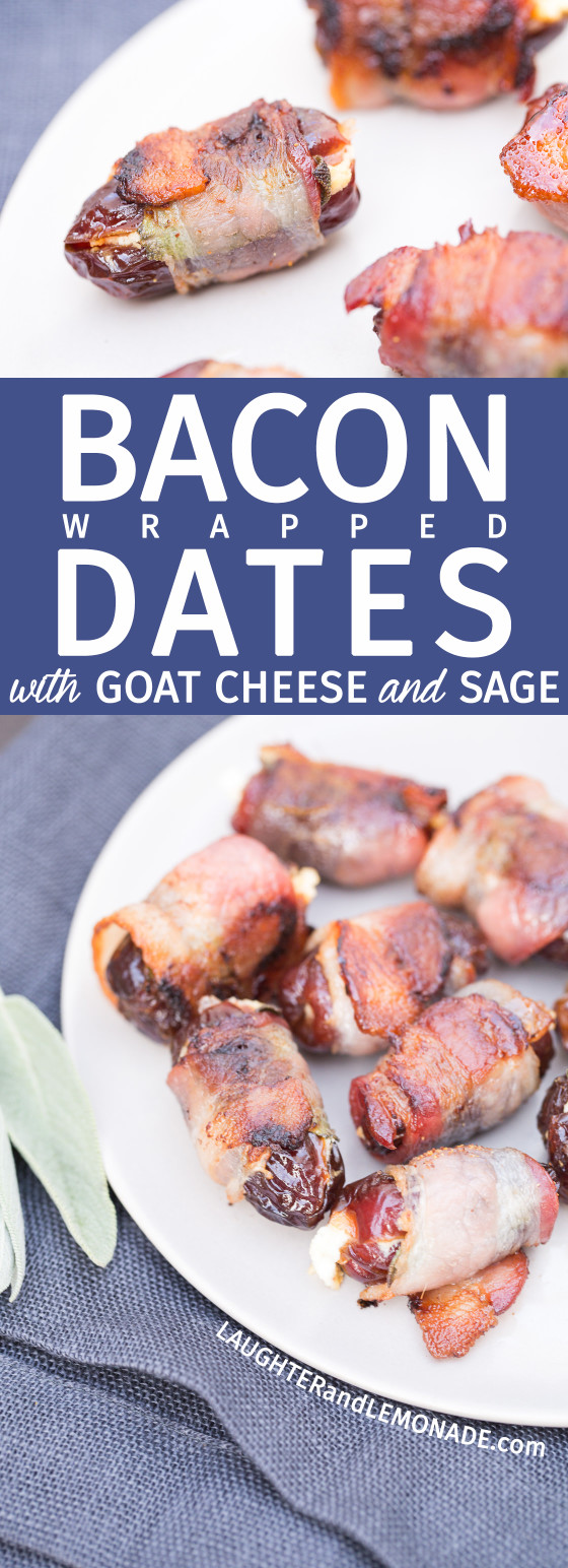 Bacon Wrapped Dates with Goat Cheese and Sage | LaughterandLemonade.com