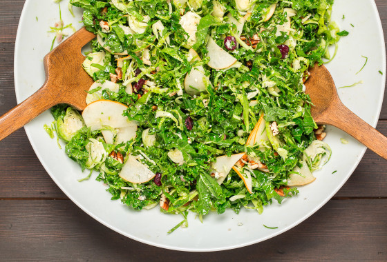 Shredded Brussels Sprout and Kale Salad | LaughterandLemonade.com