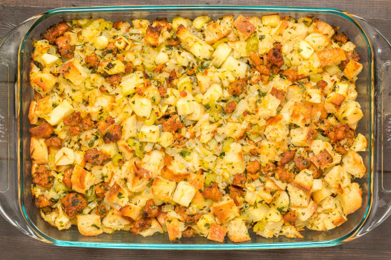 Homemade Stuffing with Apple and Sausage | LaughterandLemonade.com